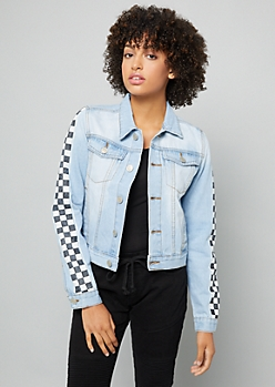 Light Wash Checkerboard Hustle Patch Jean Jacket