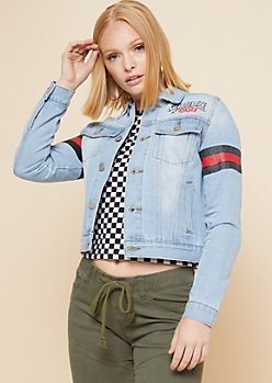 Light Wash Striped Sleeve Savage Snake Denim Jacket