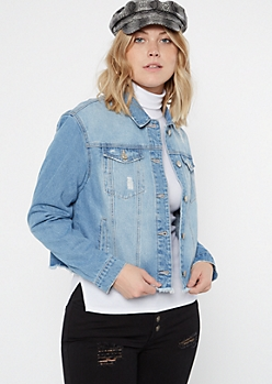 Light Wash Frayed Denim Jacket