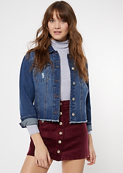 Dark Wash Frayed Denim Jacket