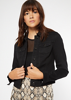 Black Button Down Jean Jacket