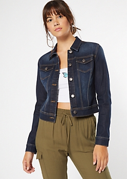Dark Wash Button Down Jean Jacket