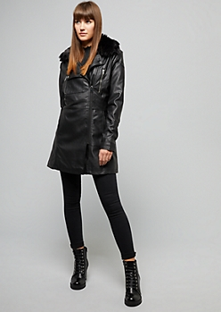 Black Faux Fur Collar Long Jacket