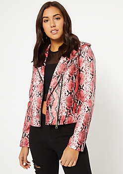 Pink Snakeskin Print Faux Leather Jacket