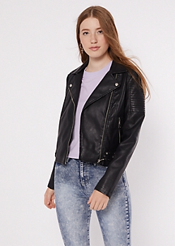 Black Moto Belted Faux Leather Jacket