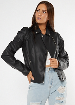 Black Faux Leather Puff Sleeve Moto Jacket