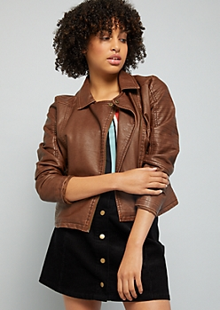 Brown Faux Leather Quilted Moto Jacket