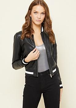 Black Sparkle Athletic Stripe Bomber Jacket