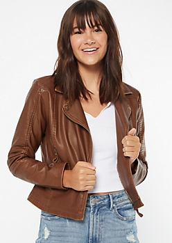 Cognac Faux Leather Quilted Moto Jacket