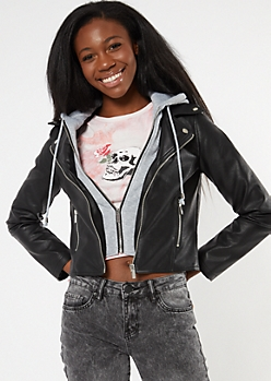 Black Faux Leather Hoodie Moto Jacket