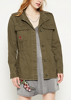 Olive Embroidered Floral Frayed Anorak