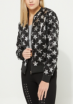 Black Star Sequined Bomber Jacket