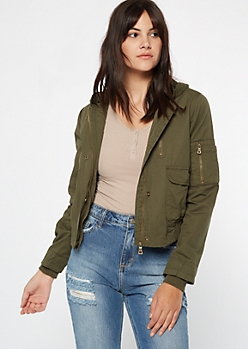 Olive Cargo Vintage Hooded Jacket