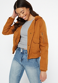 Camel Cargo Pocket Retro Hooded Jacket