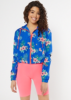 Blue Tropical Print Zip Cropped Windbreaker