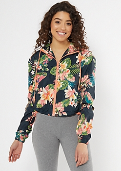 Black Tropical Print Zip Cropped Windbreaker