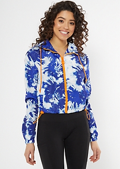 Blue Tie Dye Print Zip Cropped Windbreaker