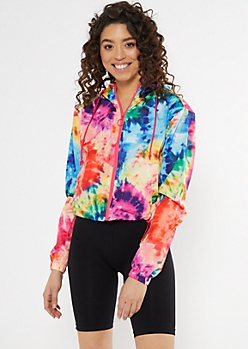 Rainbow Tie Dye Print Zip Cropped Windbreaker