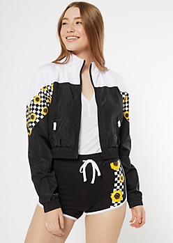 Black Sunflower Checkered Print Colorblock Windbreaker
