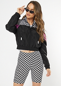 Purple Checkered Print Colorblock Full Zip Windbreaker