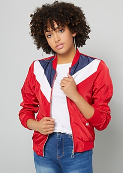 Red Chevron Striped Colorblock Windbreaker