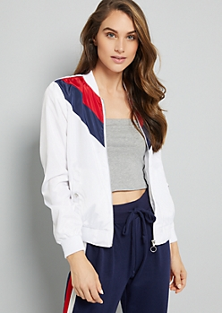 White Chevron Striped Colorblock Windbreaker