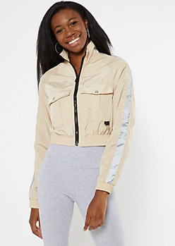 Tan Cropped Cargo Side Striped Windbreaker