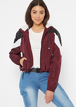 Burgundy Colorblock Sherpa Lined Windbreaker