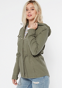 Olive Toggle Hooded Anorak Jacket