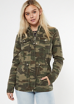 Camo Print Toggle Hooded Anorak Jacket