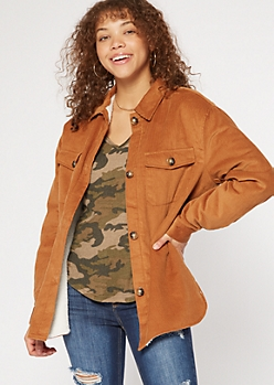 Camel Corduroy Sherpa Lined Shacket