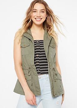 Olive Anorak Drawstring Vest