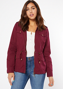 Burgundy Zip Front Anorak Jacket