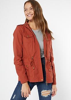 Burnt Orange Zip Front Anorak Jacket