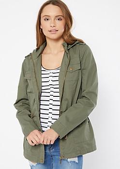 Olive Zip Front Anorak Jacket