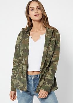 Camo Print Zip Front Anorak Jacket