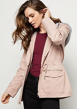 Pink Fleece Hooded Cinched Anorak Jacket