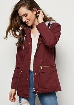 Burgundy Fleece Hooded Cinched Anorak Jacket