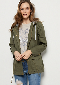 Olive Fleece Hooded Cinched Anorak Jacket