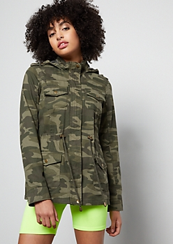 Camo Print Zip Front Hooded Anorak Jacket