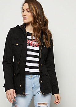 Black Cinched Waist Hooded Anorak Jacket