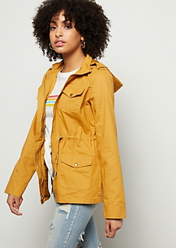 Mustard Cinched Waist Hooded Anorak Jacket