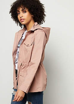 Pink Cinched Waist Hooded Anorak Jacket