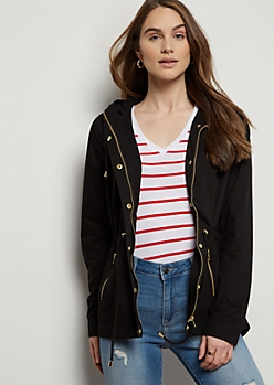 Black Cinched Waist Anorak Jacket