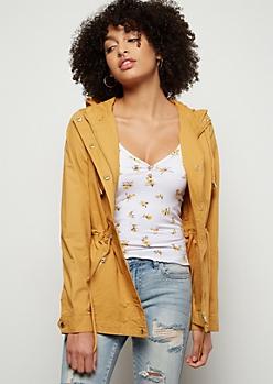 Mustard Cinched Waist Anorak Jacket