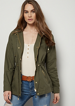 Olive Cinched Waist Anorak Jacket