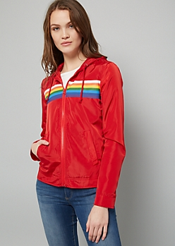 Red Rainbow Striped Zip Front Hooded Windbreaker
