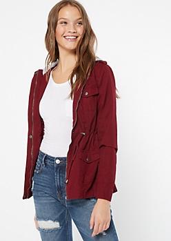 Burgundy Toggle Hooded Anorak Jacket