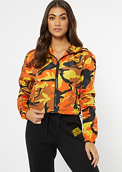 Orange Camo Print Full Zip Windbreaker