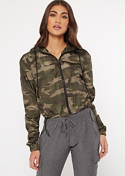 Camo Print Full Zip Windbreaker